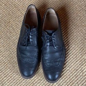 Cole Haan Grand.OS Black Leather Wingtip Oxfords